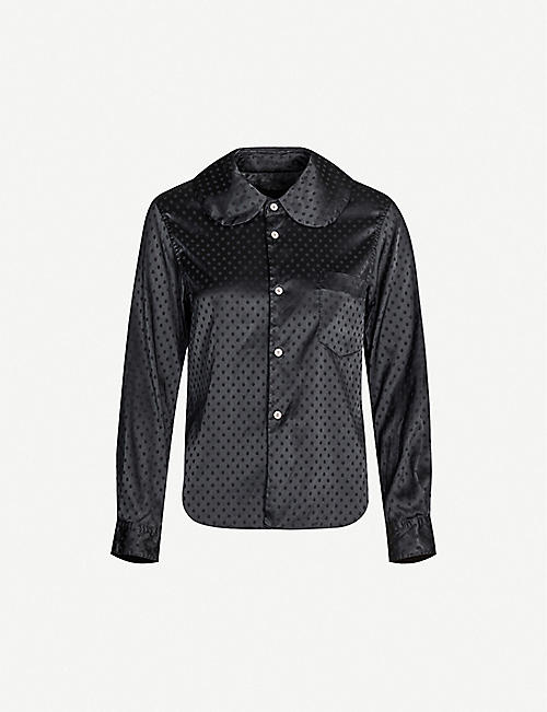 COMME COMME DES GARCONS Polka-dot relaxed-fit satin shirt