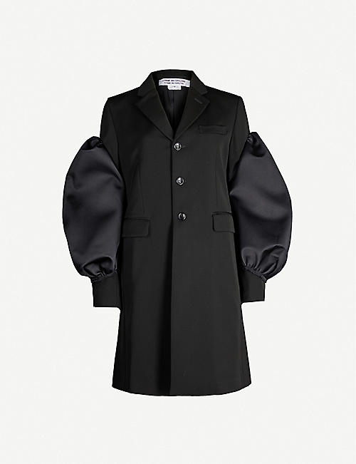 COMME COMME DES GARCONS Single-breasted puff-sleeve wool coat