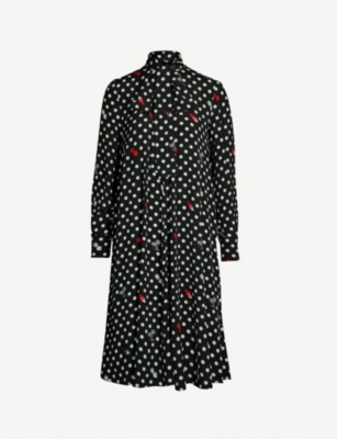 MCQ ALEXANDER MCQUEEN Swallow and polka dot-print crepe dress