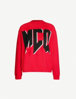 MCQ ALEXANDER MCQUEEN Graphic logo-print brushed-cotton jumper