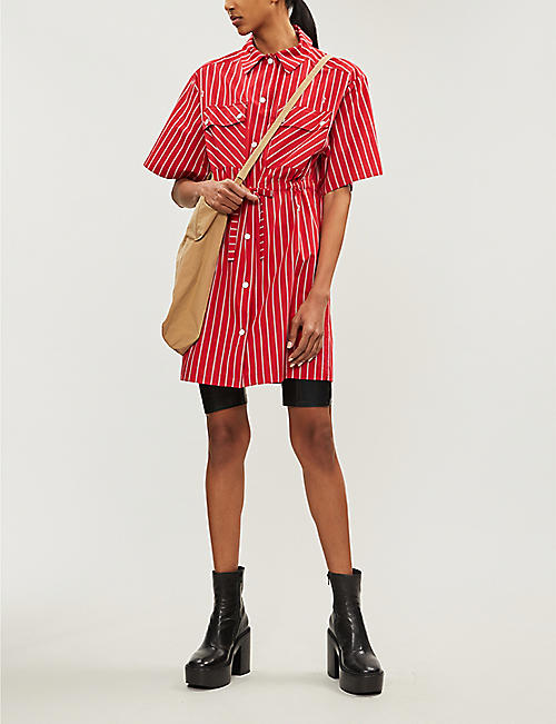 MCQ ALEXANDER MCQUEEN Striped cotton dress