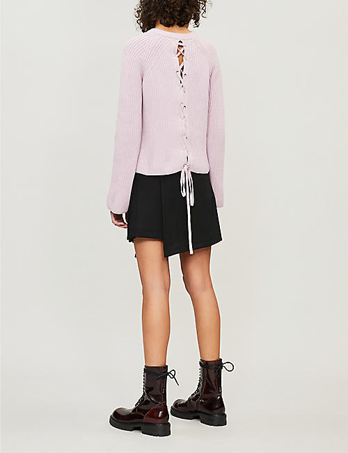 MCQ ALEXANDER MCQUEEN Lace-up knit cotton jumper