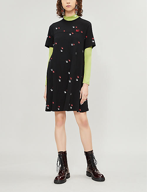 MCQ ALEXANDER MCQUEEN Swallow-print cotton-jersey dress