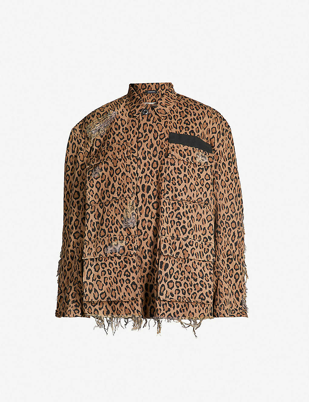 769a4f0d6696 R13 - Shredded leopard-print denim jacket   Selfridges.com