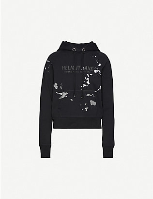 HELMUT LANG: Branded graphic-print cotton-jersey hoody