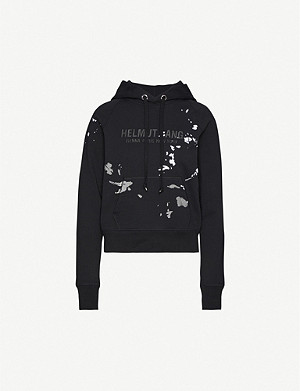 HELMUT LANG Branded graphic-print cotton-jersey hoody