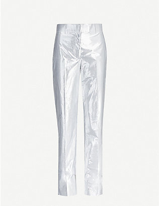 HELMUT LANG: Metallic straight mid-rise cotton-blend trousers