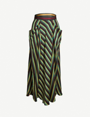 3.1 PHILLIP LIM Asymmetric striped high-rise satin skirt