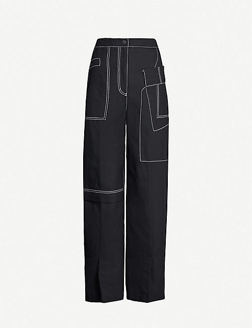 3.1 PHILLIP LIM High-rise wide cotton and wool-blend trousers