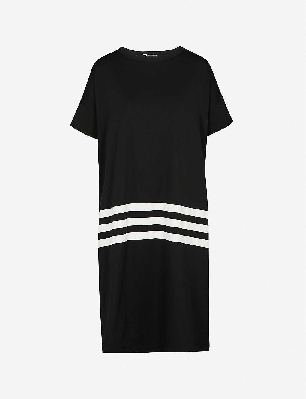 5bedda232866c Y3 - Striped-detail oversized cotton-jersey T-shirt