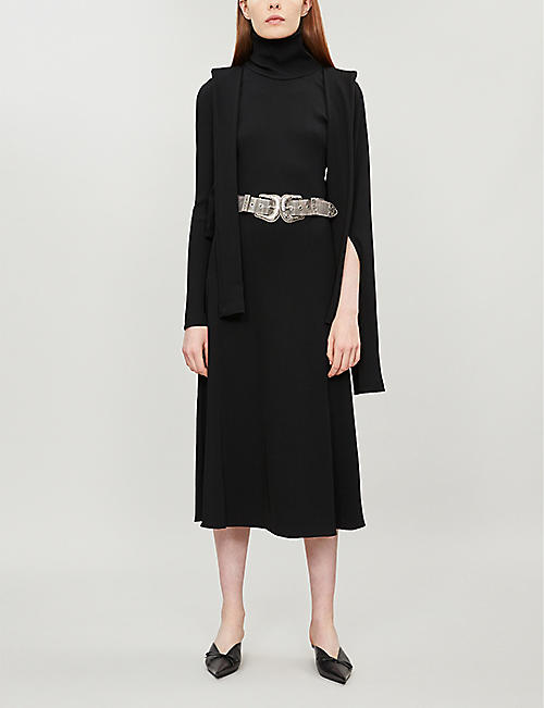 CHRISTOPHER KANE Asymmetric turtleneck ribbed-knit dress