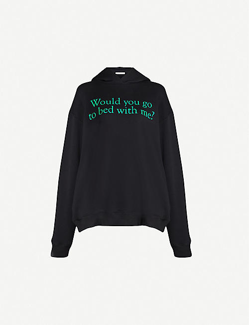 CHRISTOPHER KANE Slogan-print cotton-jersey hoody