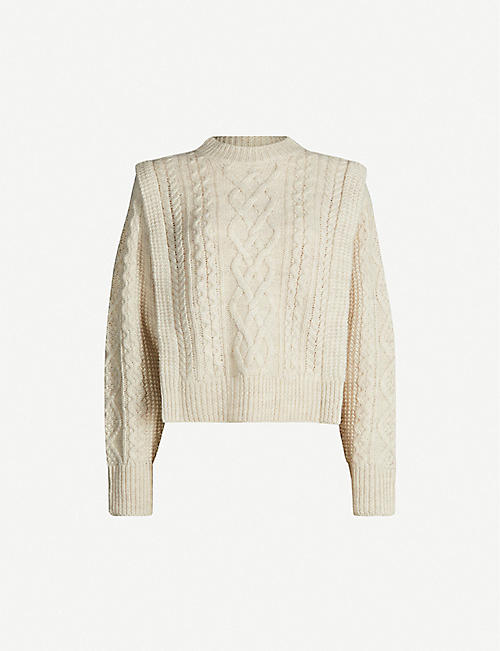 ISABEL MARANT ETOILE Tayle cropped cable-knit wool jumper