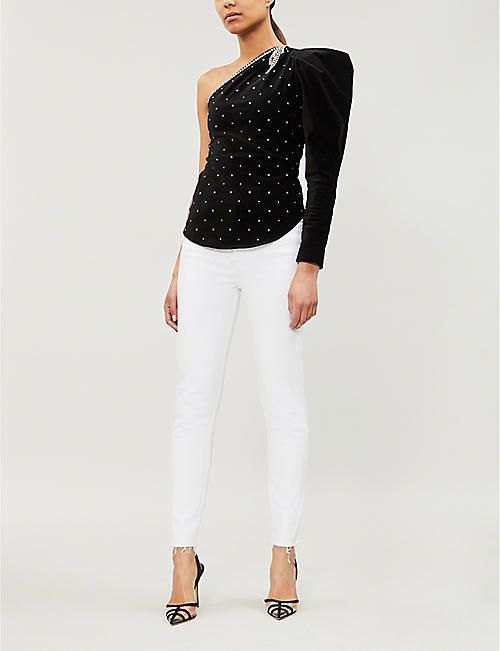 ISABEL MARANT One-shoulder stud-embellished velvet top