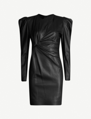 ISABEL MARANT Puffed-shoulder leather dress