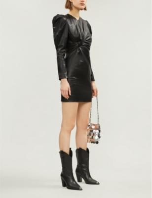 Isabel Marant Dress Puffed-shoulder leather dress