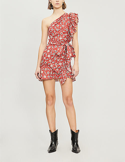 ISABEL MARANT ETOILE Teller one-shoulder frilled linen dress