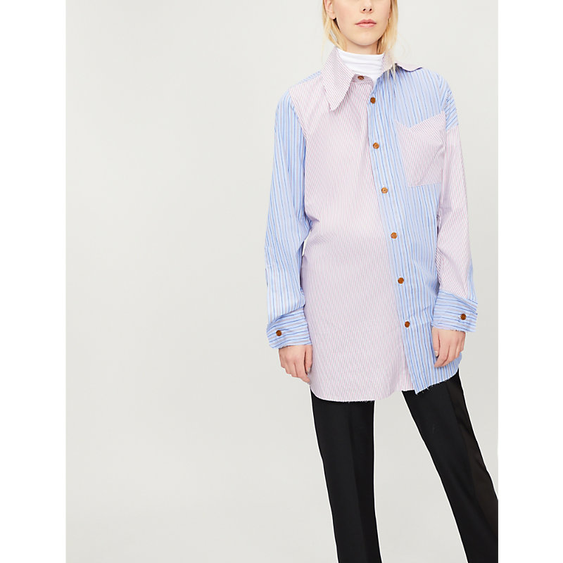 Lottie Patchwork-Stripe Cotton Shirt, Mix Blue/Red Stripes