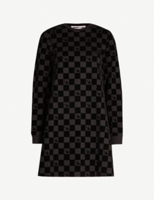 MCQ ALEXANDER MCQUEEN Flocked cotton-jersey dress