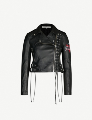 MCQ ALEXANDER MCQUEEN Logo-embroidered laced leather jacket