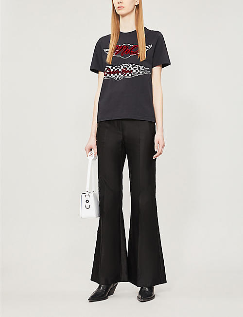 MCQ ALEXANDER MCQUEEN Logo-flocked cotton-jersey T-shirt