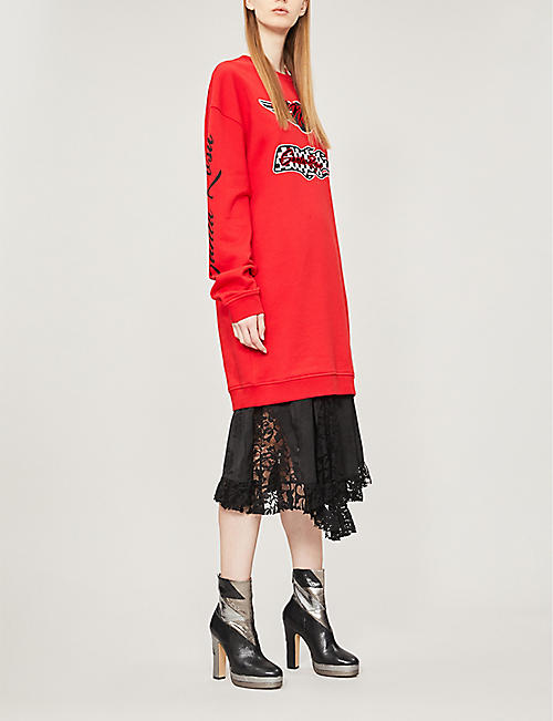 MCQ ALEXANDER MCQUEEN Patchwork cotton-jersey dress