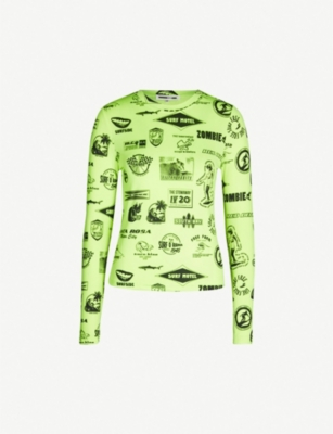 MCQ ALEXANDER MCQUEEN Neon motif-covered stretch-jersey top