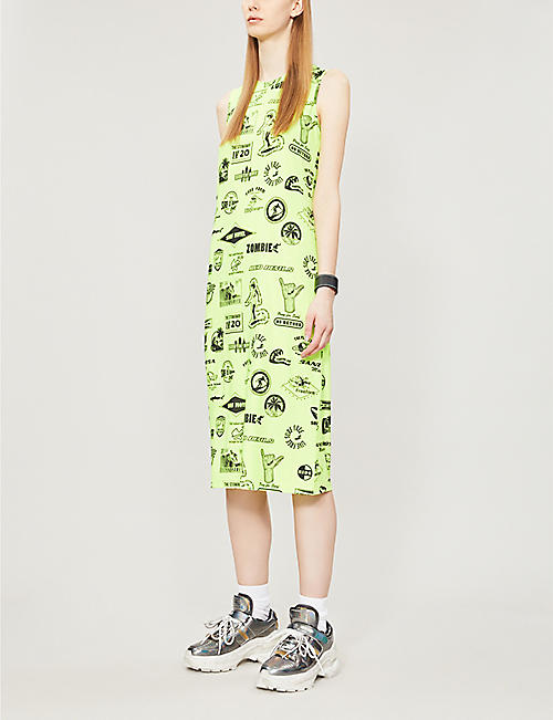 MCQ ALEXANDER MCQUEEN Neon motif-covered stretch-jersey dress