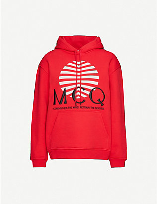 MCQ ALEXANDER MCQUEEN: Logo-embroidered cotton-jersey hoody