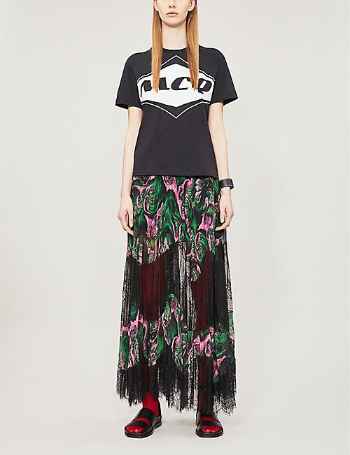 MCQ ALEXANDER MCQUEEN Graphic-panel chiffon and lace skirt