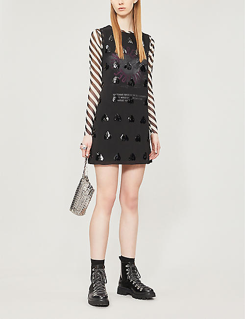 MCQ ALEXANDER MCQUEEN Sequin-embellished graphic-print chiffon dress