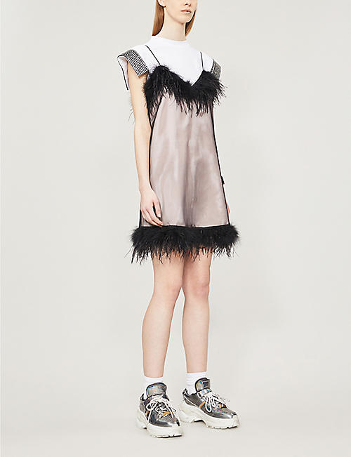 MCQ ALEXANDER MCQUEEN Feather-trimmed tulle dress