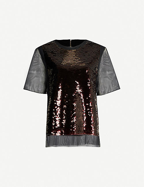 MCQ ALEXANDER MCQUEEN Sequinned mesh top
