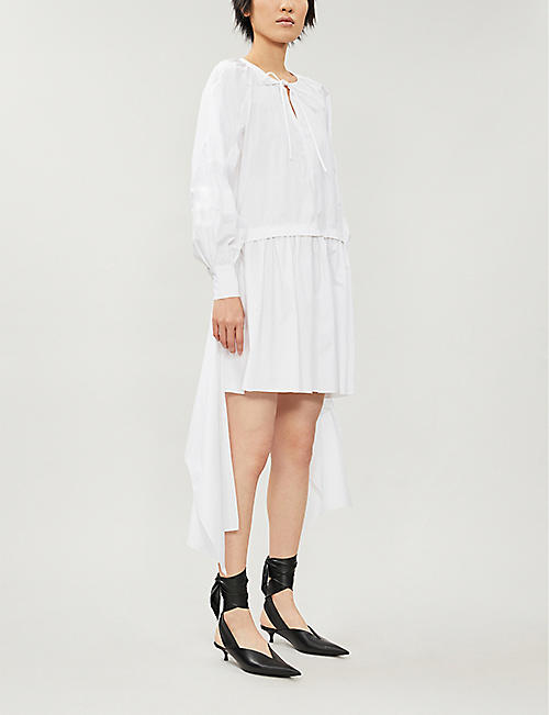 JW ANDERSON Raglan-sleeve flared-skirt cotton midi dress