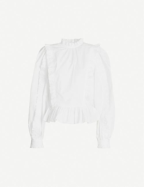 JW ANDERSON Frilled cotton-poplin blouse