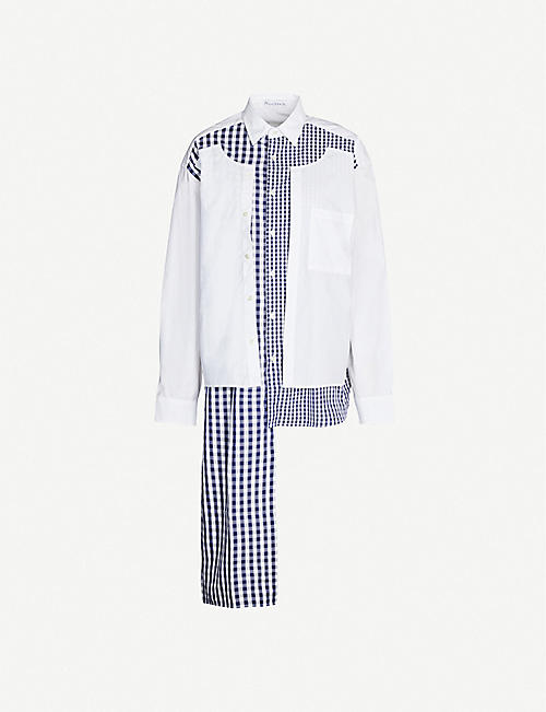 JW ANDERSON Gingham-panelled cotton shirt