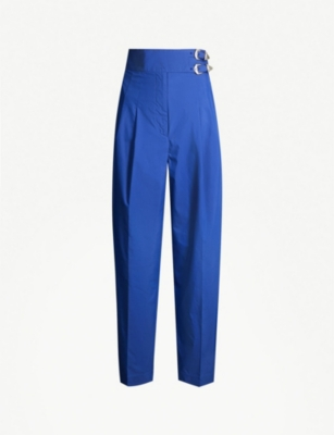 TOGA Tapered high-rise cotton-blend trousers
