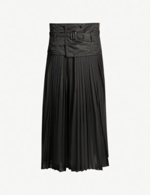 TOGA Pleated mesh and shell skirt