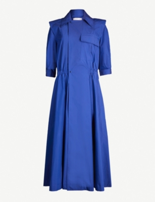 TOGA Notch-lapel cotton-blend dress