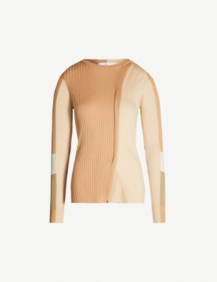TOGA Panelled ribbed-knit jumper