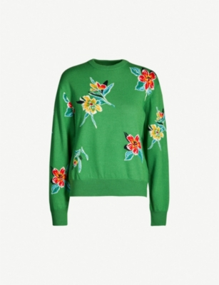 TOGA Round-neck floral intarsia wool jumper