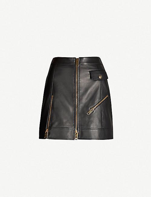 85bb8e248e VERSUS VERSACE Zipper-up leather skirt