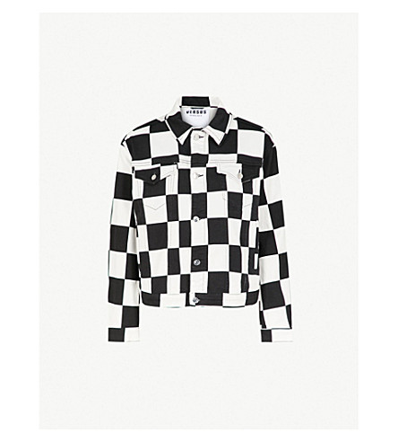 c244ba076cd3 VERSUS VERSACE Chequered stretch-denim jacket (Multicolor