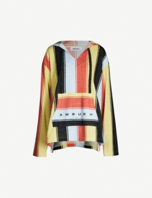AMBUSH Oversized striped cotton and linen-blend hoodie