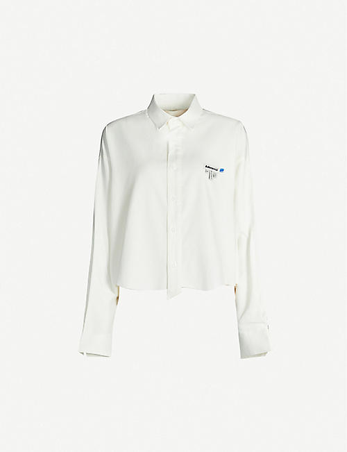 ADER ERROR Raw-hem cropped cotton-twill shirt