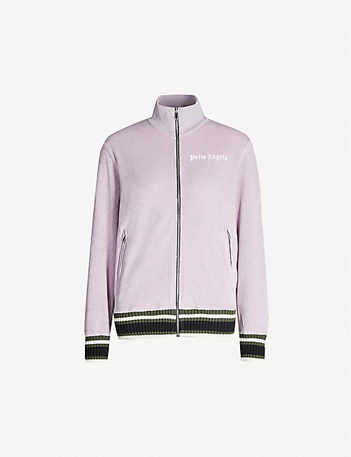 PALM ANGELS Funnel-neck striped-trim chenille track jacket