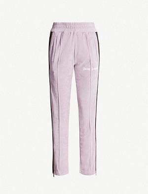 PALM ANGELS Straight striped-trim chenille jogging bottoms