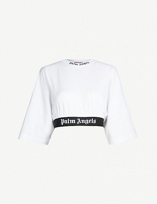 eb0d5671036 PALM ANGELS Cropped logo-print cotton-jersey T-shirt