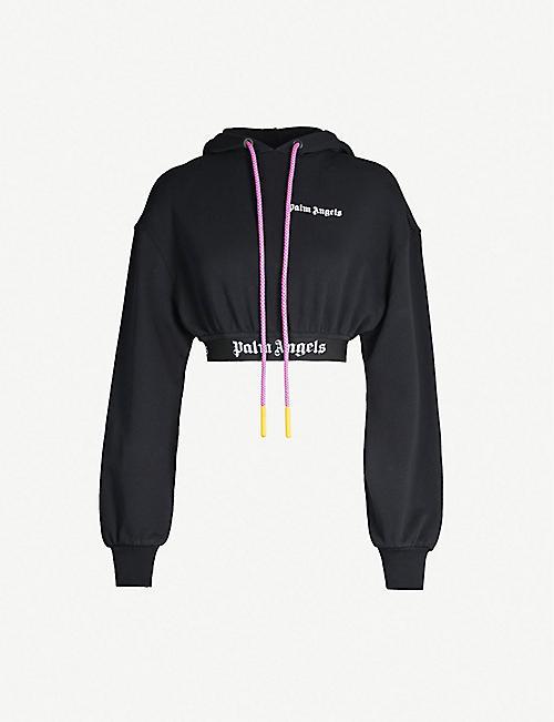7aafc16c4c8cdb PALM ANGELS Contrast-drawstring cropped cotton-jersey hoody
