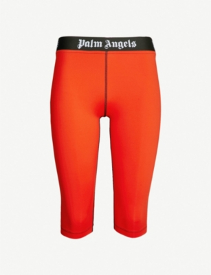PALM ANGELS Logo-detail cycling shorts
